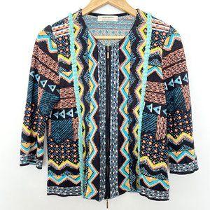 Aldomartins 8 Zip Up Geometric Print Sweater
